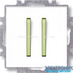 Переключатель 2-клав., проходной безвинтовые зажимы ABB Neo белый/зеленый