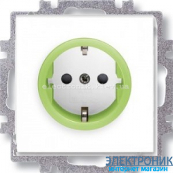 Розетка с заземлением и шторками ABB Neo белый/зеленый