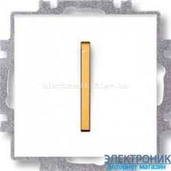 Выключатель/переключатель 1-клав., с подсветкой проходной безвинтовые зажимы ABB Neo белый/оранжевый