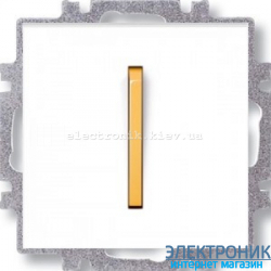 Переключатель 1-клав., перекрестный  безвинтовые зажимы ABB Neo белый/оранжевый