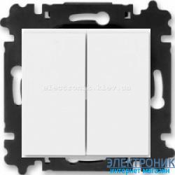 Переключатель 2-клав., проходной безвинтовые зажимы ABB Levit белый/белый