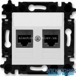 Розетка универсальная телефон/компьютер двойная ABB Levit серый/белый