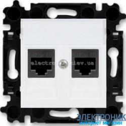 Розетка универсальная телефон/компьютер двойная ABB Levit белый/дымчатый