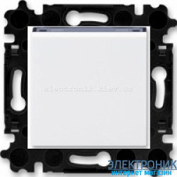 Переключатель 1-клав., перекрестный  безвинтовые зажимы ABB Levit белый/дымчатый