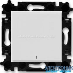 Выключатель/переключатель 1-клав., с подсветкой проходной безвинтовые зажимы ABB Levit серый/белый