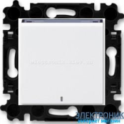 Выключатель/переключатель 1-клав., с подсветкой проходной безвинтовые зажимы ABB Levit белый/дымчатый