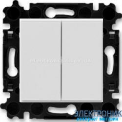 Выключатель 2-клав., безвинтовые зажимы ABB Levit серый/белый