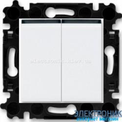 Переключатель 2-клав., проходной безвинтовые зажимы ABB Levit белый/дымчатый