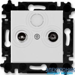 Розетка TV-R-SAT спутниковая, конечная ABB Levit серый/белый