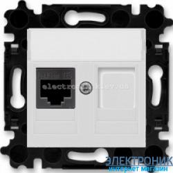 Розетка универсальная телефон/компьютер  ABB Levit серый/белый