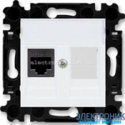 Розетка универсальная телефон/компьютер  ABB Levit белый/дымчатый