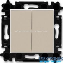 Переключатель 2-клав., проходной безвинтовые зажимы ABB Levit макиато/белый