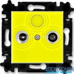 Розетка TV-R-SAT спутниковая, конечная ABB Levit желтый/дымчатый