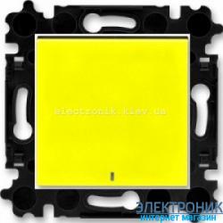 Выключатель/переключатель 1-клав., с подсветкой проходной безвинтовые зажимы ABB Levit желтый/дымчатый