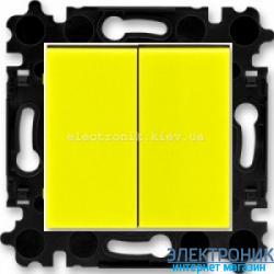 Переключатель 2-клав., проходной безвинтовые зажимы ABB Levit желтый/дымчатый