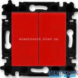 Переключатель 2-клав., проходной безвинтовые зажимы ABB Levit красный/дымчатый