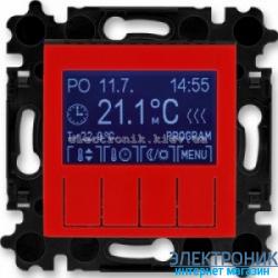 Термостат универсальный, программируемый ABB Levit красный/дымчатый