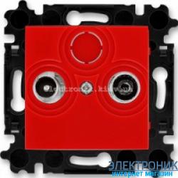 Розетка TV-R-SAT спутниковая, конечная ABB Levit красный/дымчатый