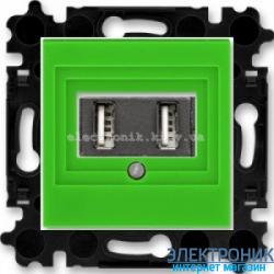 Розетка зарядной 2хUSB розетки ABB Levit зеленый/дымчатый
