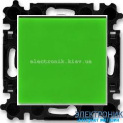Переключатель 1-клав., перекрестный  безвинтовые зажимы ABB Levit зеленый/дымчатый