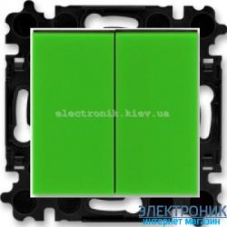 Переключатель 2-клав., проходной безвинтовые зажимы ABB Levit зеленый/дымчатый