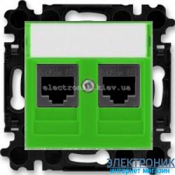 Розетка универсальная телефон/компьютер  двойная ABB Levit зеленый/дымчатый