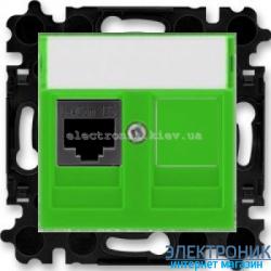 Розетка универсальная телефон/компьютер  ABB Levit зеленый/дымчатый