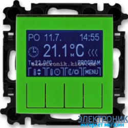 Термостат универсальный, программируемый ABB Levit зеленый/дымчатый
