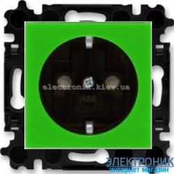 Розетка с заземлением и шторками ABB Levit зеленый/дымчатый