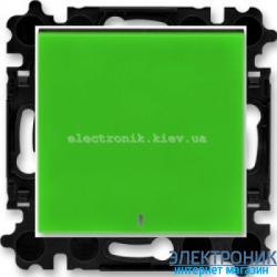 Выключатель/переключатель 1-клав., с подсветкой проходной безвинтовые зажимы ABB Levit зеленый/дымчатый