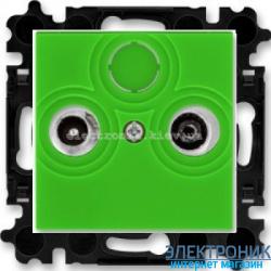 Розетка TV-R-SAT спутниковая, конечная ABB Levit зеленый/дымчатый