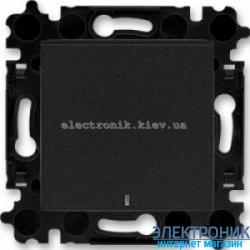 Выключатель/переключатель 1-клав., с подсветкой проходной безвинтовые зажимы ABB Levit оникс/дымчатый