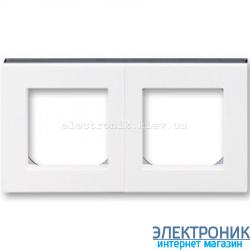 Рамка 2-поста ABB Levit белый/дымчатый