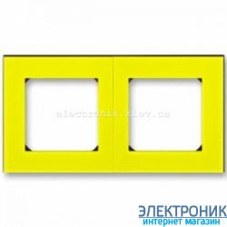 Рамка 2-поста ABB Levit желтый/дымчатый
