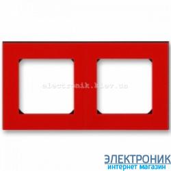 Рамка 2-поста ABB Levit красный/дымчатый