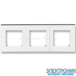 Рамка 3-поста ABB Levit белый/дымчатый