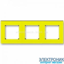 Рамка 3-поста ABB Levit желтый/дымчатый
