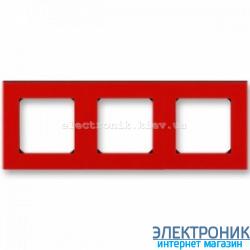 Рамка 3-поста ABB Levit красный/дымчатый