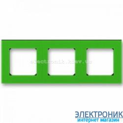 Рамка 3-поста ABB Levit зеленый/дымчатый