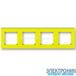 Рамка 4-поста ABB Levit желтый/дымчатый