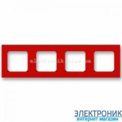 Рамка 4-поста ABB Levit красный/дымчатый