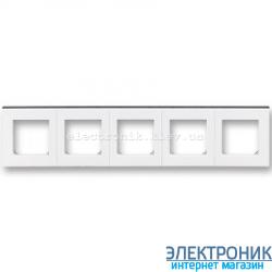 Рамка 5-постов ABB Levit белый/дымчатый