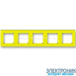 Рамка 5-постов ABB Levit желтый/дымчатый