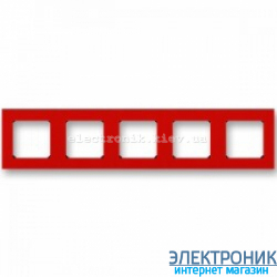 Рамка 5-постов ABB Levit красный/дымчатый