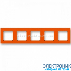 Рамка 5-постов ABB Levit оранжевый/дымчатый