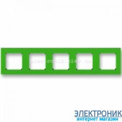 Рамка 5-постов ABB Levit зеленый/дымчатый