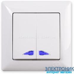 GUNSAN VISAGE белый Выключатель двухклавишный с подсветкой
