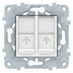 Розетка компьютерная 2-ая кат.6, RJ-45 (интернет), Белый, серия Unica New