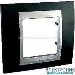 Рамка 1-я Schneider Electric Unica Top Черный родий/Алюминий