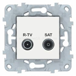 Розетка телевизионная единственная ТV-SAT, Белый, серия Unica New